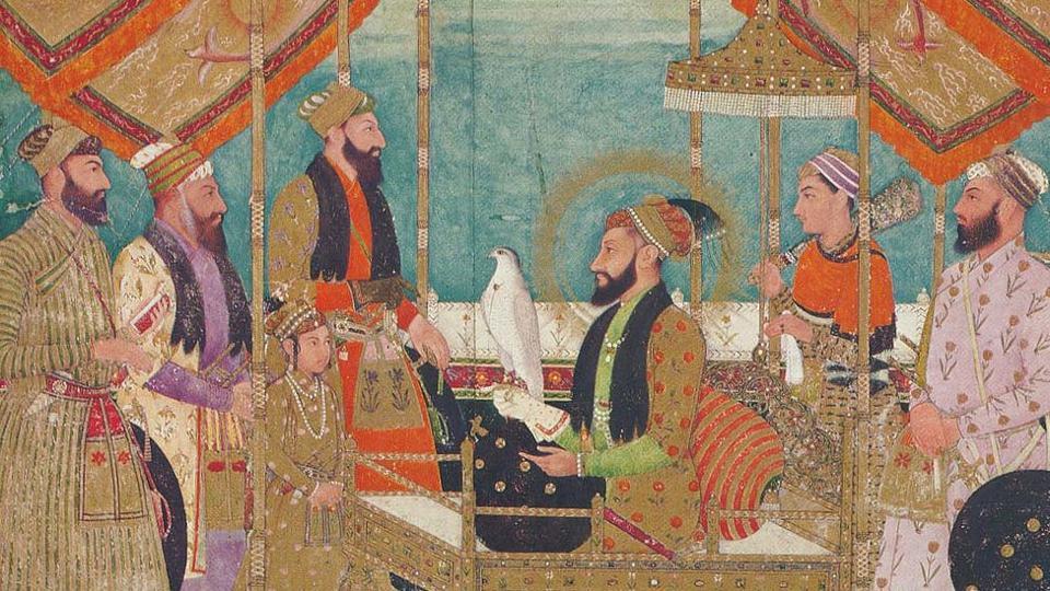 Mughal emperor Aurangzeb holds court, as painted by (perhaps) Bichitr; Shaistah Khan stands behind Prince Muhammad Azam.