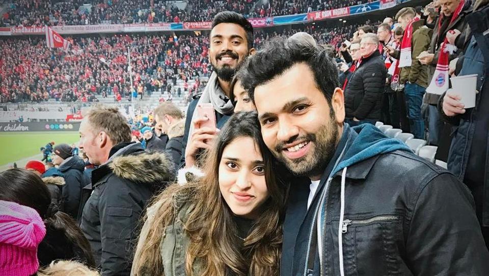 Rohit Sharma with wife Ritika and KL Rahul at the Bayern Munich-Arsenal UEFA Champions League match.