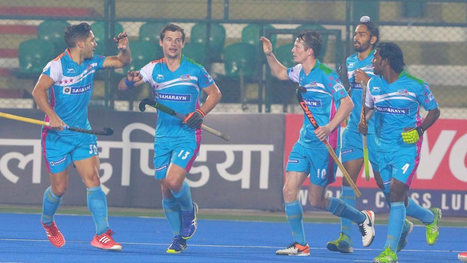 UP Wizards players celebrate after their winning their Hockey India League match against Ranchi Rays in Lucknow on Thursday.