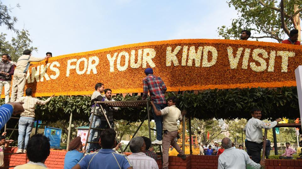 A board being installed at the exit gate of the garden. (Sanjeev Sharma/HT Photo)