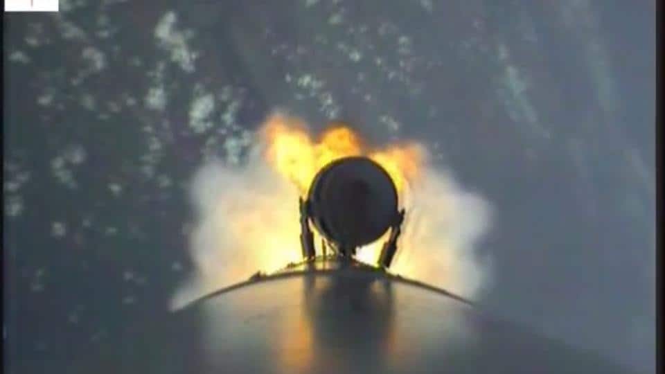 A screenshot from the video taken by the cameras fitted on the PSLV .