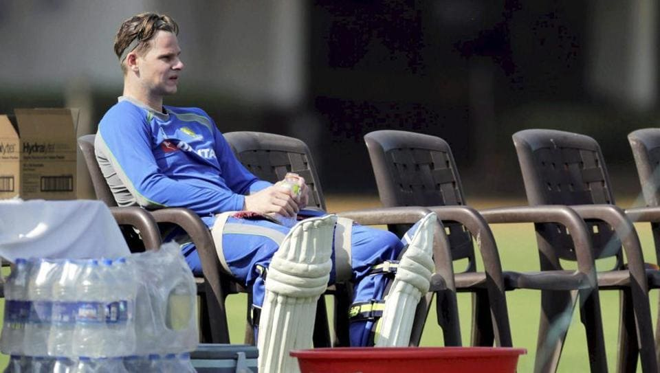 Australian captain Steve Smith during a practice session in Mumbai on Thursday, ahead of the warm-up game against India A.
