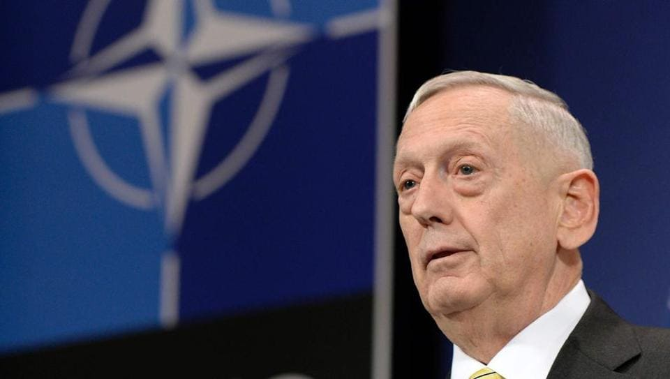 US secretary of defence James Mattis addresses a press conference following the Nato meeting in Brussels.