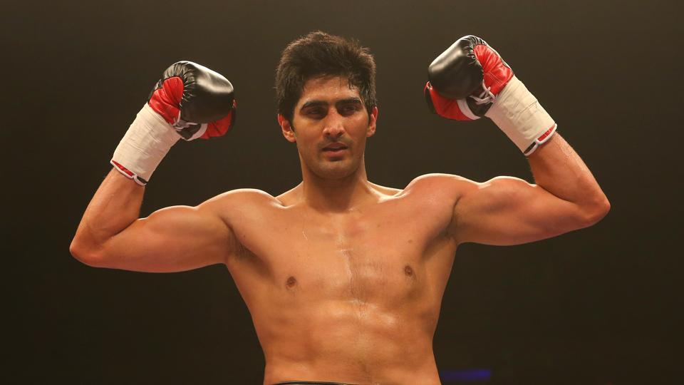 Vijender Singh after beating Alexander Horvath during their middleweight contest at the Echo Arena in Liverpool in March last year.