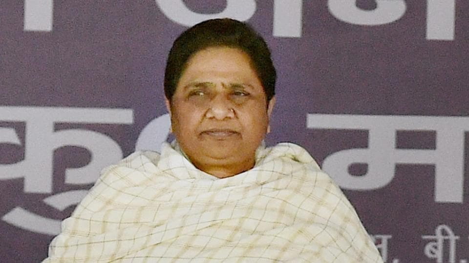 BSP Supremo Mayawati at an election rally in Lucknow.