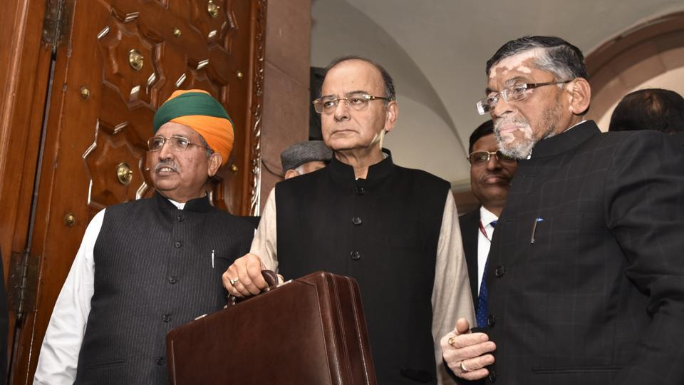 Finance minister Arun Jaitley with with MoS Arjun Ram Meghwal and Santosh Gangwar at the Parliament ahead of the Union budget presentation in New Delhi on February 1, 2017.