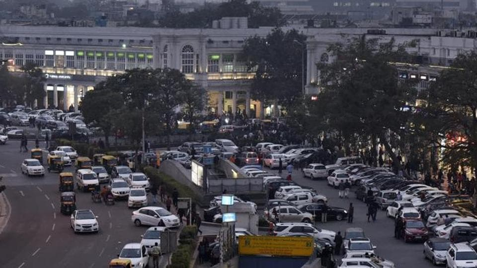 An aerial view of Connaught Place inner circle, the iconic shopping area, in New Delhi.