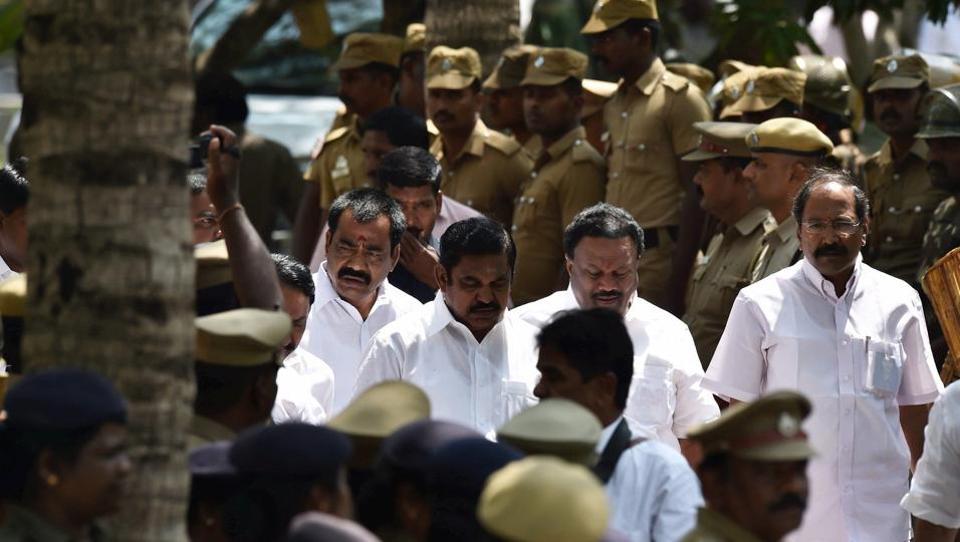 AIADMK senior leader and highways minister Edappadi K Palaniswami in Chennai on Tuesday.