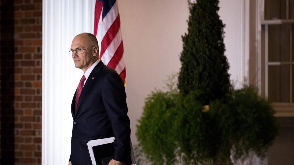 Andrew Puzder after a  meeting with President Donald Trump in New Jersey in November 2016. Puzder, who comes with a controversial past, was Trump's pick for labor secretary.