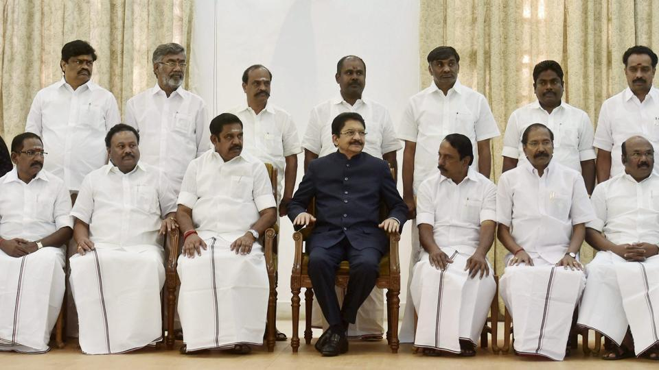 Chief Minister 'Edappadi' K Palaniswami with Governor CH Vidyasagar Rao and his cabinet colleagues pose for a group photograph after swearing-in ceremony at Raj Bhavan in Chennai on Thursday.