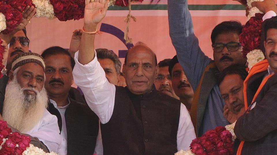 Home minister Rajnath Singh during an election rally in Jewar, Greater Noida, on February 9, 2017.