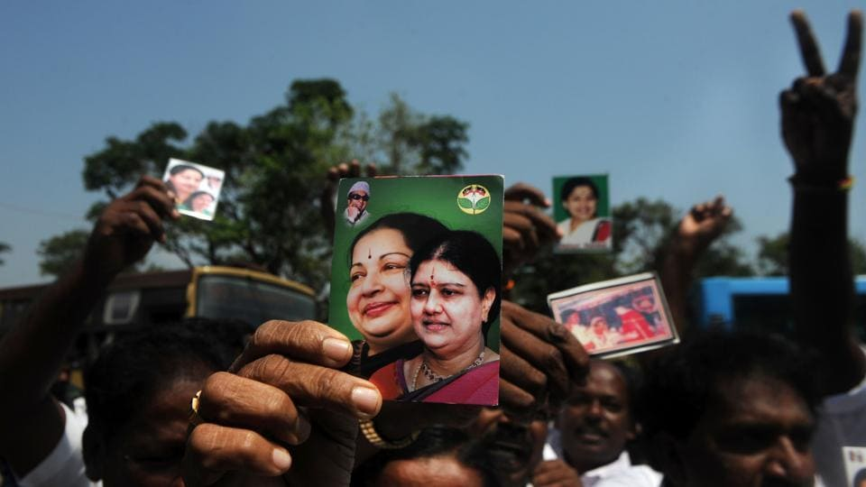 AIADMK members celebrate outside governor Vidyasagar Rao's residence on Thursday after Edappadi Palaniswami was invited to form the government.