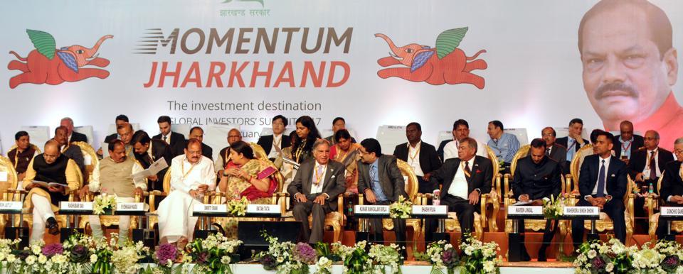 Chief Minister Raghubar Das ,Union Minister Arun Jaitely, Venkaihah Naidu,Smriti Irani, Industrialists- Ratan Tata, Kumar Mangalam Birla, Sashi Ruia, Navin Jindal, Cricketer M S Dhoni attends the global investors summit