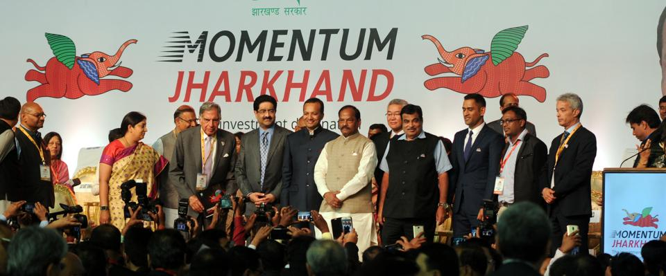 Chief Minister Raghubar Das along with Union Ministers Nitin Gadkari , Smriti Irani, and industrialists
