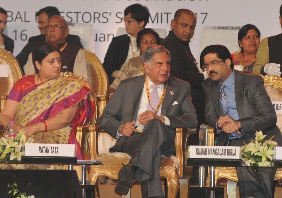Ratan Tata , Kumar Mangalam Birla attends the global investors summit