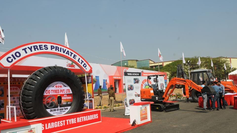 Last minute preparation in the exhibition hall for the global investors summit at Mega sports complex in Ranchi