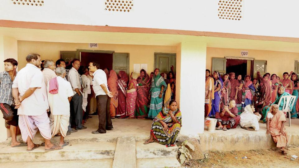People queue in line to vote during the second phase of Odisha Panchayat polls at Balipatana village on Wednesday, Feb 15, 2017.