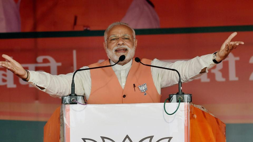 Prime Minister Narendra Modi at an election campaign rally at Barabanki in Uttar Pradesh on Thursday.