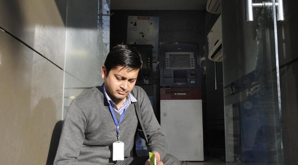 Several ATMs in prominent marketplaces of Noida — sectors 18, 27, Brahmaputra, Ganga, Nithari, Jaipuria, sectors 55 and 60 — are running without cash.