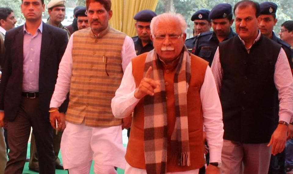 Chief minister Manohar Lal Khattar arrives for the meeting with BJP workers on Thursday.