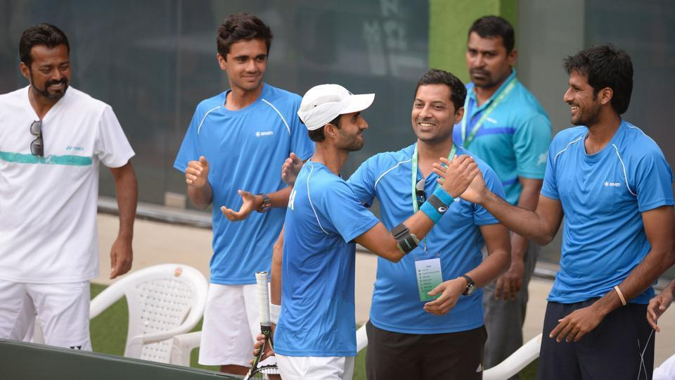 Yuki Bhambri (with cap on) will be crucial to India's chances in the Davis Cup tie against Uzbekistan.