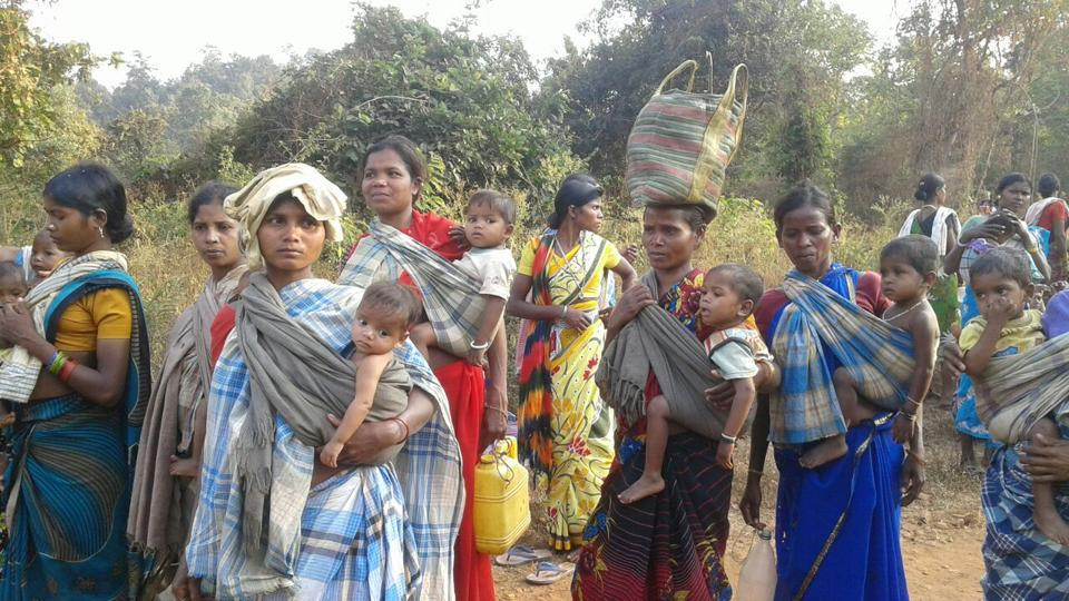 Tribals of Gampur village march towards Kirandul police station to protest against the alleged fake encounter, on Thursday.
