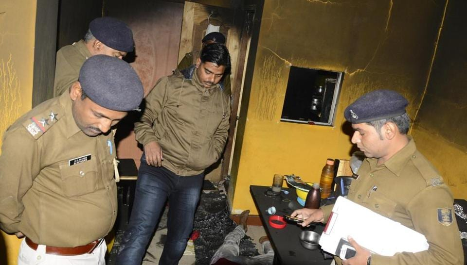 Policemen at the house of Gaya businessman Ravi Gupta after he allegedly committed suicide along with his wife and daughter.
