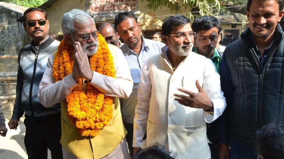 Narendra Modi lookalike Abhinandan Pathak after filing his nomination for Varanasi north assembly seat.