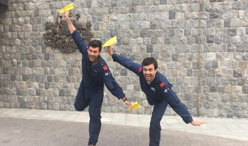 Australian paper plane pilots Dylan Parker and James Norton , on their India tour.