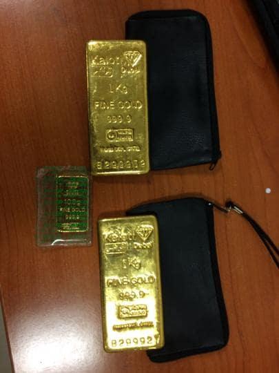 The officials seized the gold bars worth Rs63.71 lakh from black pouches the accused had hidden in the pockets of the jeans he was wearing.