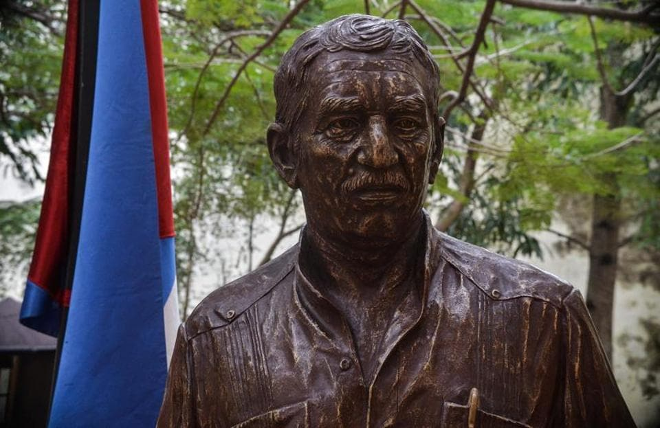 A statue of late Colombian writer, journalist and Nobel Prize for Literature 1982 Gabriel Garcia Marquez is unveiled in Havana, on February 16, 2017.