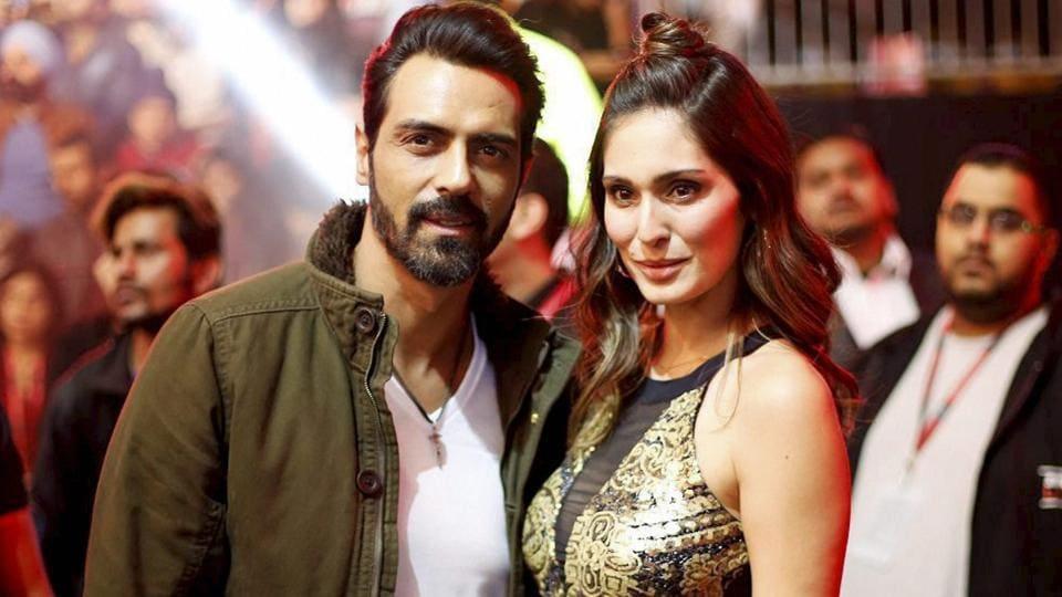 Arjun Rampal and Bruna Abdullah at the Super Fight League in New Delhi.