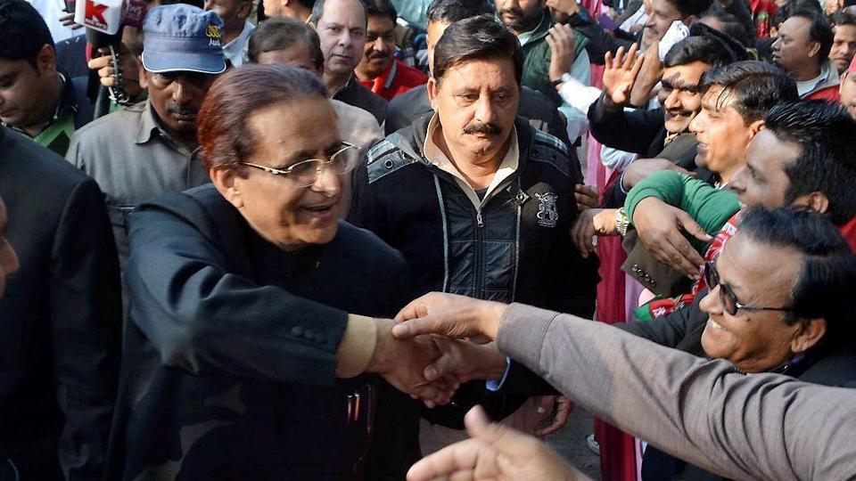 Samajwadi Party leader Azam Khan meets supporters in Rampur in Uttar Pradesh.
