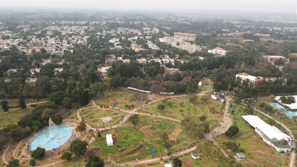 Aerial view of Zakir Hussain Rose Garden during Rose festival in Chandigarh on Friday. (Anil Dayal/HT Photo)