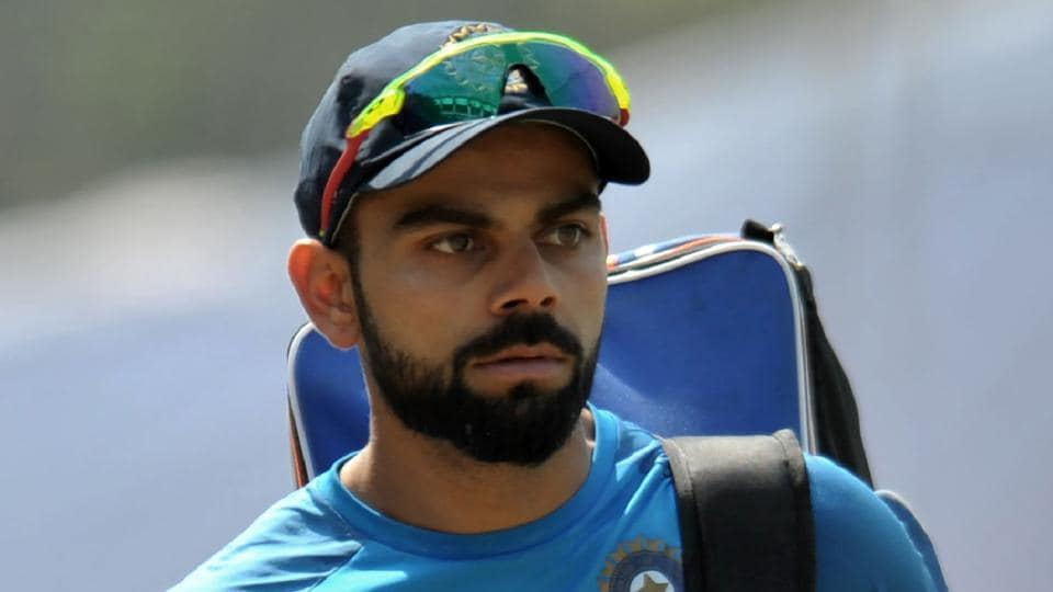 India's cricket captain Virat Kohli during a team practice session before a India and Bangladesh test match in Hyderabad on February 8.