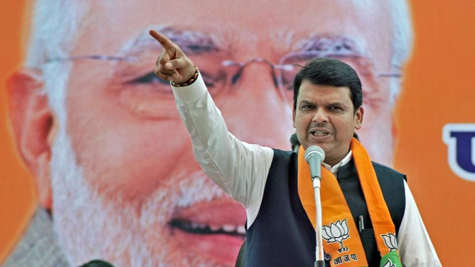 Maharashtra chief minister Devendra Fadnavis addresses at a campaign rally for Zilla Panchayat election in Sangli.
