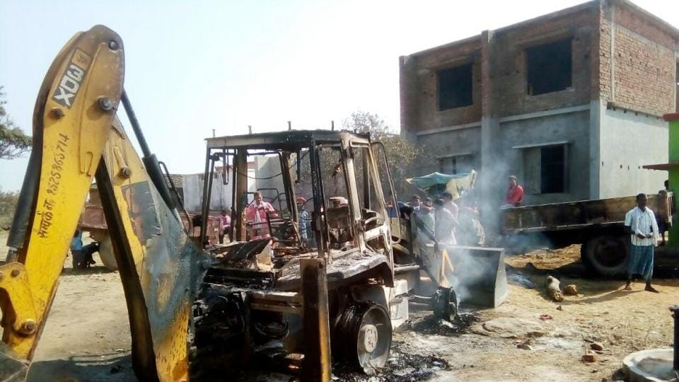 The JCB machine which was torched by Maoists at Dugdha near Adhaura on Thursday.