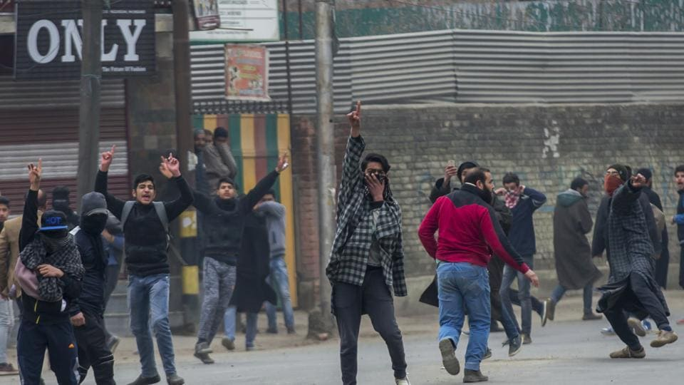 Kashmiri protesters during a protest march called by separatist leaders to protest against the recent killing of civilians in Srinagar on Wednesday.