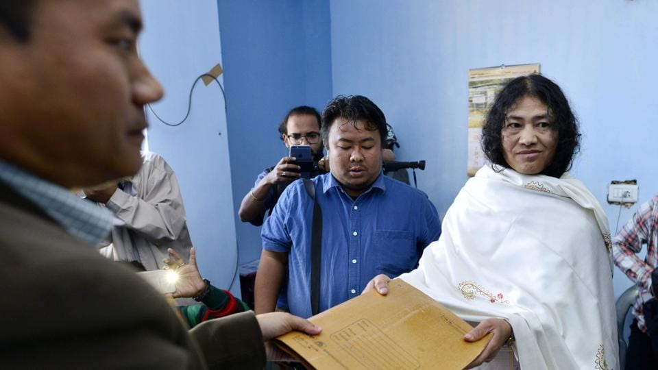 Civil rights activist and Peoples Resurgence and Justice Alliance candidate for Manipur assembly elections Irom Sharmila (R) files her election nomination papers on Thursday.