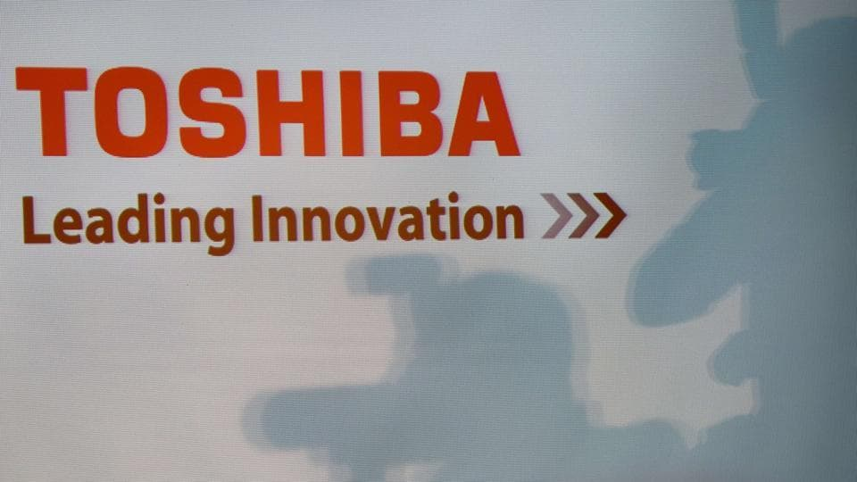 A Toshiba logo is seen during a press conference at their headquarters in Tokyo on December 21, 2015.