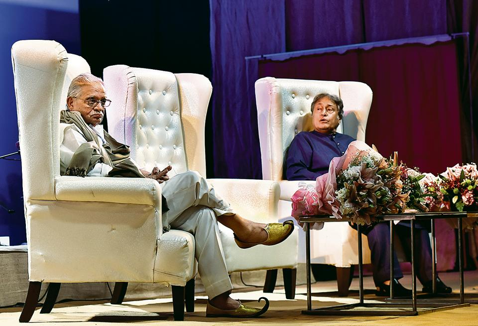 Poet, lyricist and film director Gulzar with Sarod maestro Amjad Ali Khan at the inaugural session  of Jashn e Rekhta 2017 at the IGNCA , New Delhi