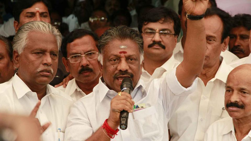 O Panneerselvam at his residence in Chennai addressing supporters on Thursday, February 16, 2017.  In a tit-for-tat move the OPS camp removed AIADMK general secretary VK Sasikala and two of her relatives from the party.
