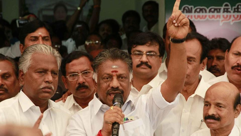 O Panneerselvam addresses supporters at his residence in Chennai.