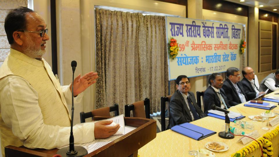 Bihar finance minister Abdul Bari Siddiqui addressing state level bankers' meet in Patna on Friday.