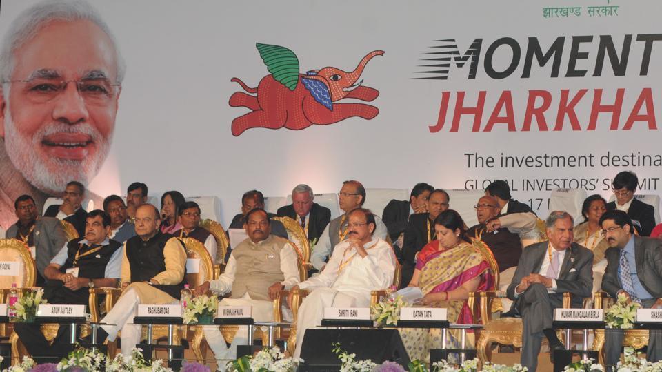 Union Ministers- Arun Jaitely, Venkaiah Naidu, Nitin Gagkari, Smriti Irani, Jharkhand CM - Raghubar Das and industrialist Ratan Tata , Kumar Mangalam Birla attends the global investors summit