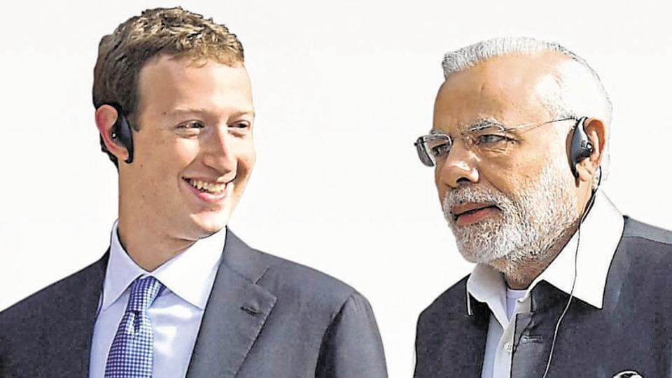 Prime Minister Narendra Modi with Facebook CEO Mark Zuckerberg in California.