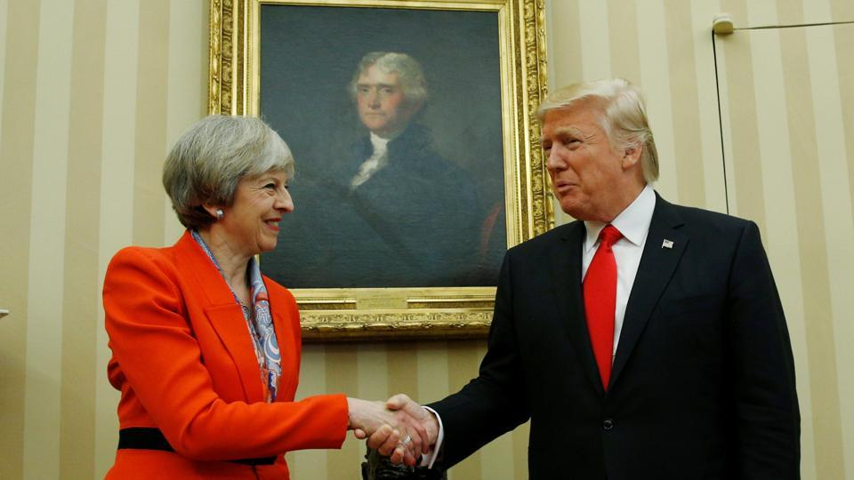 US President Donald Trump (right) with British Prime Minister Theresa May, White House Oval Office, Washington, January 27