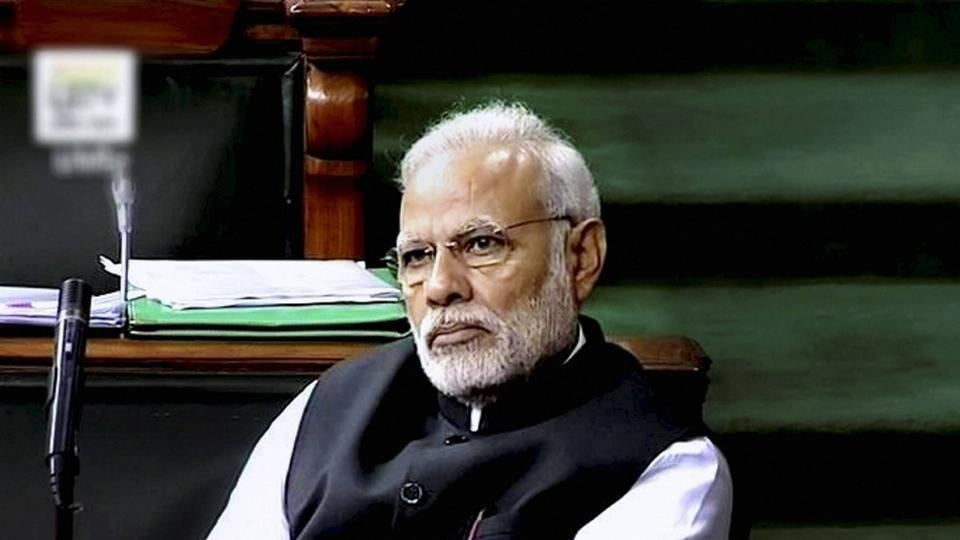 A television grab of Prime Minister Narendra Modi in the Lok Sabha.  The Congress's fury has been roused by Narendra Modi's rhetoric. It believes he's been rude to Manmohan Singh.