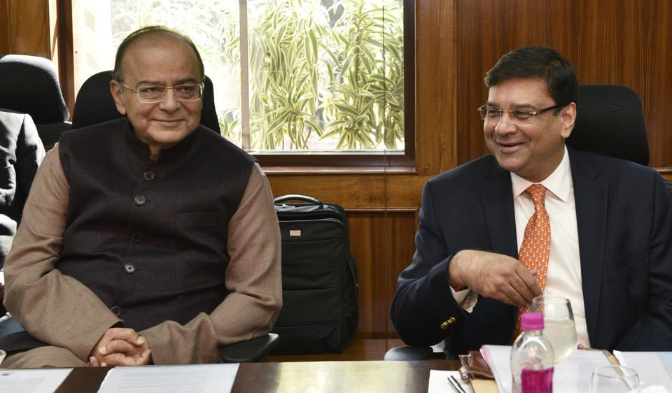 Finance minister Arun Jaitley and RBI governor Urjit Patel at the post-Budget RBI Board Meeting in New Delhi.