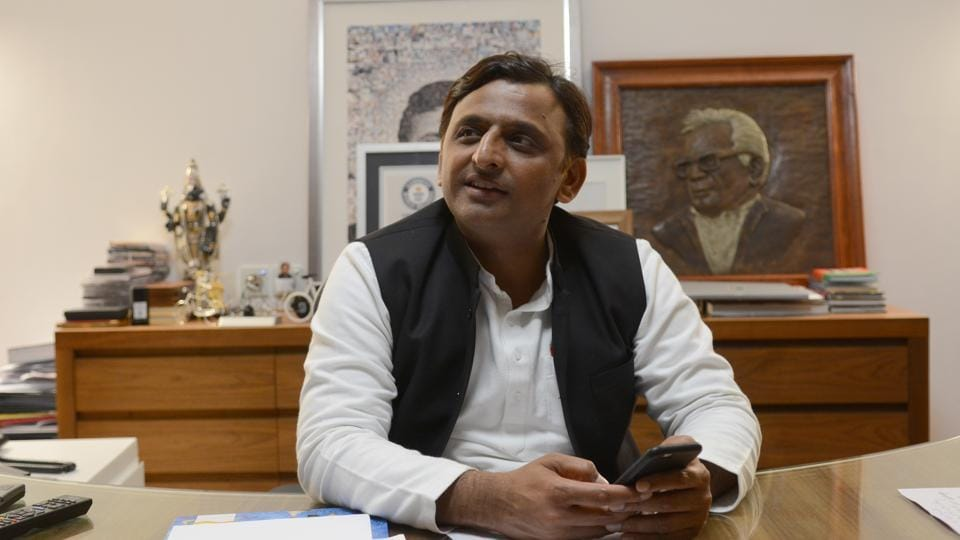 Uttar Pradesh chief minister Akhilesh Yadav and his MP wife Dimple Yadav (not in the photo) participated in a Facebook Live session with HT in Lucknow on Thursday.